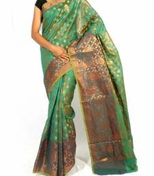 Buy Faux Chanderi Fancy Zari Contrast Work Banarasi saree faux-saree online