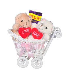 Buy Cute pink couple teddybear trolly valentine gift set gifts-for-girlfriend online