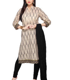 Buy Cream printed cotton readymade salwar with dupatta readymade-suit online