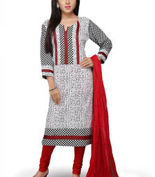Buy White and black printed cotton readymade salwar with dupatta readymade-suit online