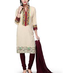Buy Light beige printed rayon readymade salwar with dupatta readymade-suit online