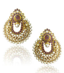 Buy Elegant Wine Coloured Pearl Polki Earrings by ADIVA ABCHI0BCD005 danglers-drop online