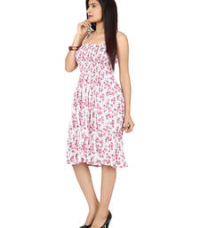 Buy White and pink colored round neck dress western-wear online