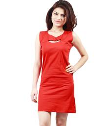 Buy Red colored round neck dress western-wear online