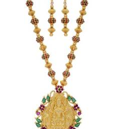 Buy TRADITIONAL TEMPLE THEME PENDANT WITH STONE STUDDED BALLS  MALA & HANGINGS (RED GREEN)  - PCPS7025 Pendant online