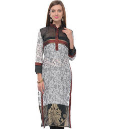 Buy Black and white cotton woven stitched kurti plus-size-kurti online