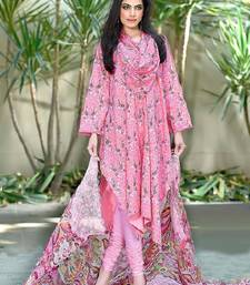 Buy Pink printed cotton unstitched salwar with dupatta cotton-salwar-kameez online