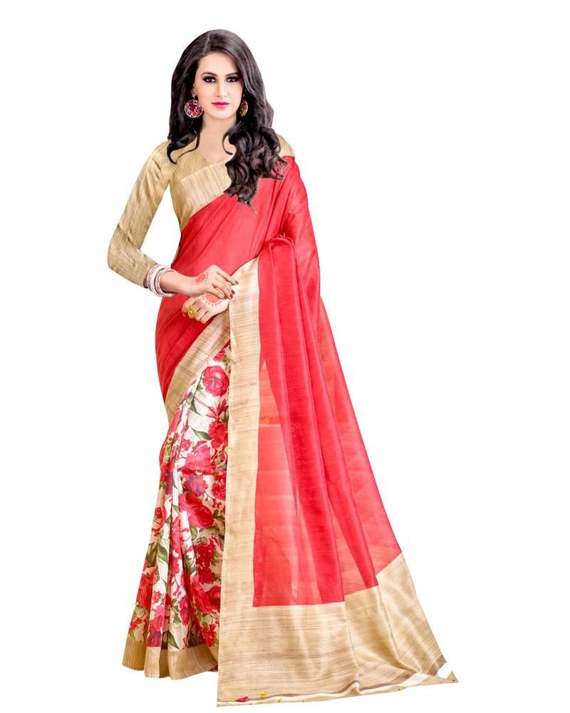 Buy Dark Golden Printed Bhagalpuri Cotton Saree With