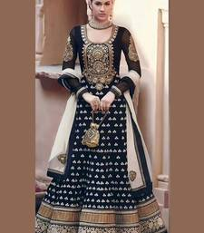 Buy MERT INDIA Black georgette embroidered semi stitched salwar with dupatta anarkali-salwar-kameez online