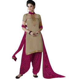 Buy Beige and pink printed cotton and satin unstitched salwar with dupatta patiala-salwar online