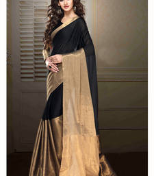 Buy black printed tussar saree With Blouse tussar-silk-saree online