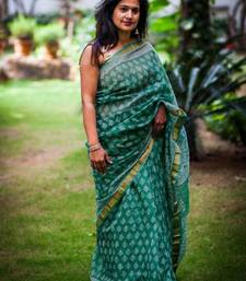 Buy Dull green cotton Chanderi saree cotton-saree online