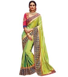 Buy Green embroidered satin saree With Blouse party-wear-saree online