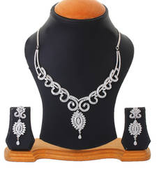 Buy Begets Studded Silver Wedding Party Necklace Set For Women necklace-set online