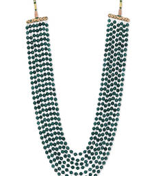 Buy Green Semi Precious Onyx and Shell Pearl Satlada Sabyasachi Necklace Necklace online