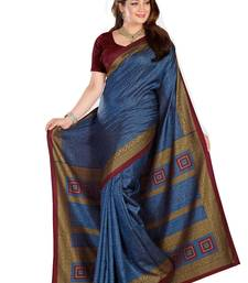 Buy sky blue printed art silk saree With Blouse bhagalpuri-silk-saree online