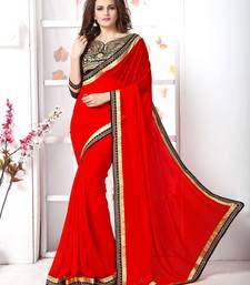 Buy Red  embroidered chiffon saree with blouse bollywood-saree online