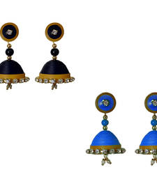 Handmade Black and Blue Paper Jhumka Earring shop online