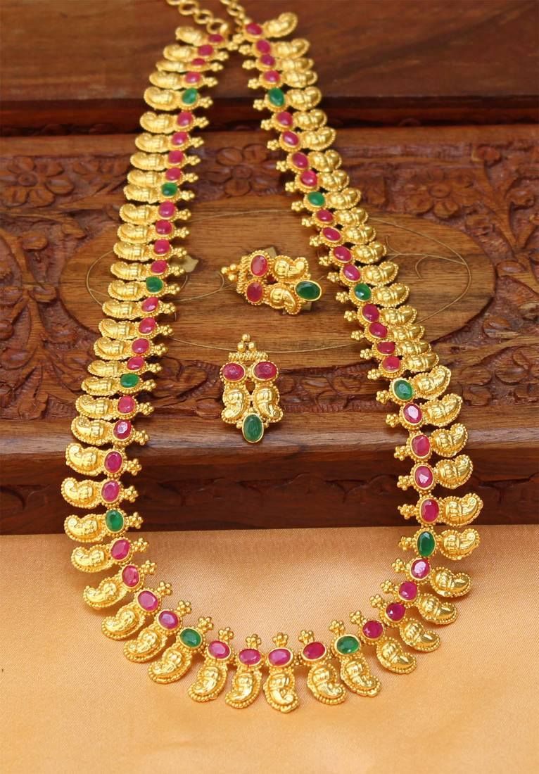 Buy Gorgeous One Gram Gold Mango Long Necklace Set Online