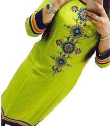 Buy Green embroidered georgette semi stitched kurti cotton-kurti online