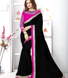 Buy Black plain chiffon saree with blouse chiffon-saree online