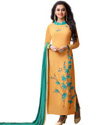 Buy Yellow embroidered georgette semi_stitched salwar with dupatta pakistani-salwar-kameez online