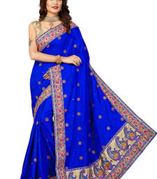 Buy blue embroidered manipuri silk saree With Blouse manipuri-silk-saree online