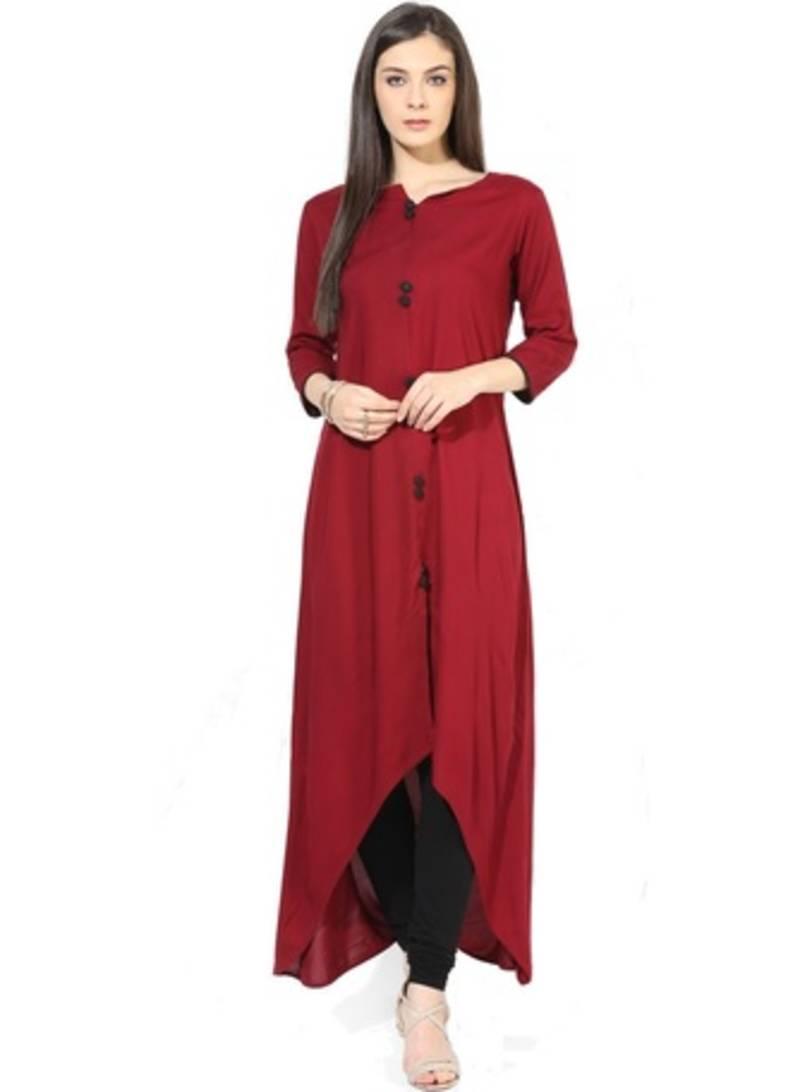 Buy Red Cotton Plain Stitched Kurti Online