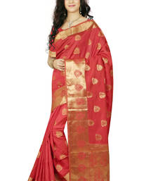 Buy Red woven tussar_silk saree With Blouse tussar-silk-saree online
