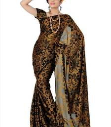 Buy Mustard brasso saree with unstitched blouse (adt774) brasso-saree online