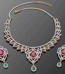 Buy BEAUTIFUL RED GREEN N WHITE STONE STUDDED NECKLACE SET Necklace online