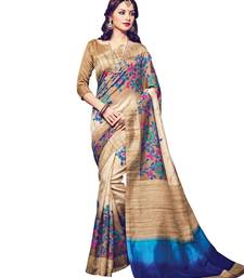 Buy beige printed bhagalpuri silk saree With Blouse Woman online