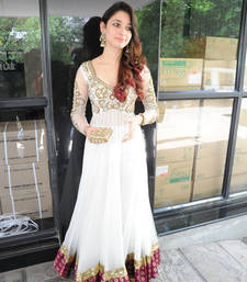 Buy White santoon embroidered semi stitched salwar with dupatta bollywood-salwar-kameez-online online