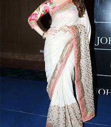 Buy White embroidered Satin and art silk saree With Blouse priyanka-chopra-saree online