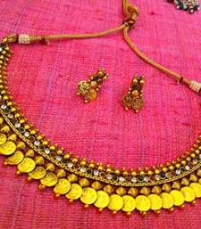 Buy Ethnic maroon red green ginni Goddess Lakshmi coin auspicious South Indian style necklace set  j35rg Necklace online