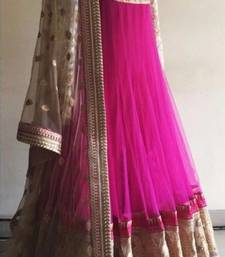 Buy Pink and cream net embroidered semi stitiched salwar with dupatta anarkali-salwar-kameez online