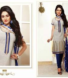 Buy Designer White & Blue Chanderi Salwar salwars-and-churidar online