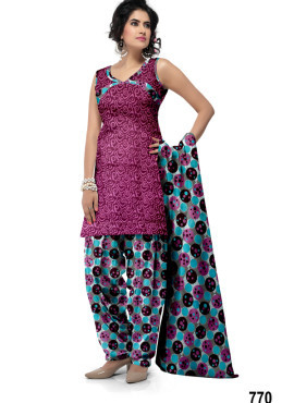 Buy Apparels Designer Printed Cotton Patiala Suits Online