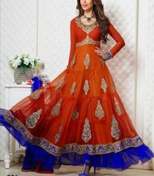 Buy Orange embroidered Georgette semi stitched salwar with dupatta party-wear-salwar-kameez online