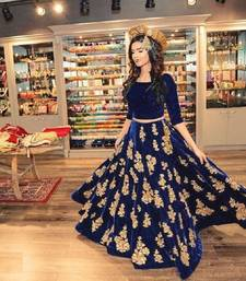 Buy Blue embroidered Banglori silk unstitched lehenga choli pakistani-lehenga online