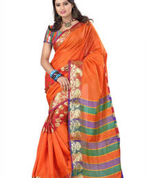 Buy Fabdeal Orange Colored Banarasi Cotton Printed Saree printed-saree online