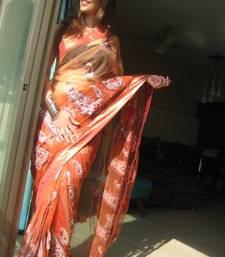 Buy Peach Net Saree net-saree online
