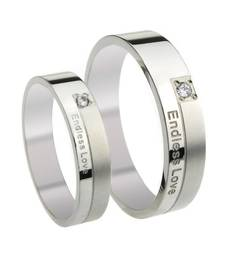 Buy Cara sterling silver and  certified Swarovski stone Endless Love couple bands engagement-gift online