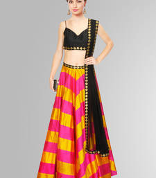 Buy Pink and Yellow and Black Printed Raw Silk unstitched lehenga-choli lehenga-below-3000 online