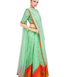 Buy Green Printed Raw Silk unstitched lehenga-choli lehenga-below-3000 online