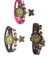 Buy black pink brown Designeer Combo Leather Watch Watch gifts-for-sister online