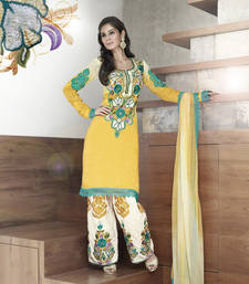 Buy Vishal faux georgette yellow Dress material Kitten918 dress-material online