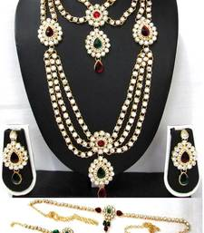 Buy Maroon Green Stone kundan bridal necklace set bridal-set online