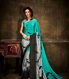Buy Green printed crepe saree With Blouse crepe-saree online