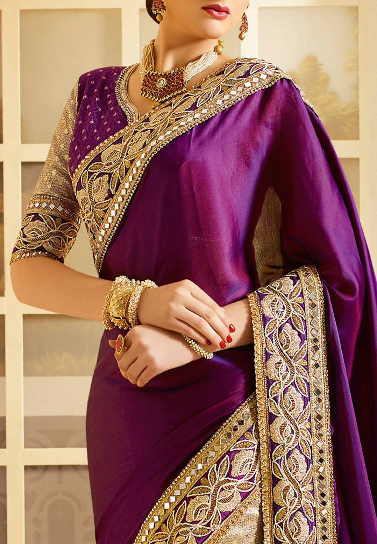 Buy Violet Embroidered Art Silk Saree With Blouse Online
